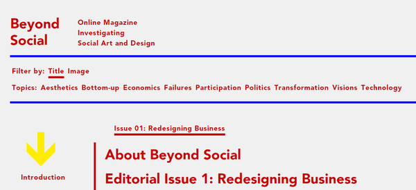 Still of the website. The Section category is represented to the left of the article titles.