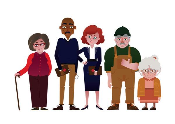 Left to right Babbette, Toon, Toos, Nico, Wilhelmina