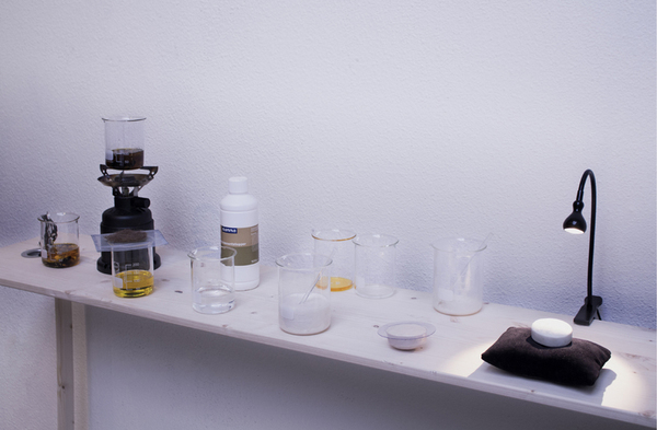 The lab set-up shows the process from sink to soap.