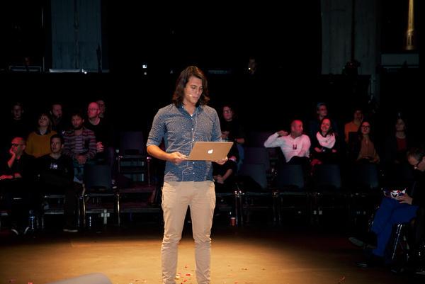 Lennart Pieters performing at the WdKA Redesigning Business Symposium, Rotterdam, November 20 2014.
